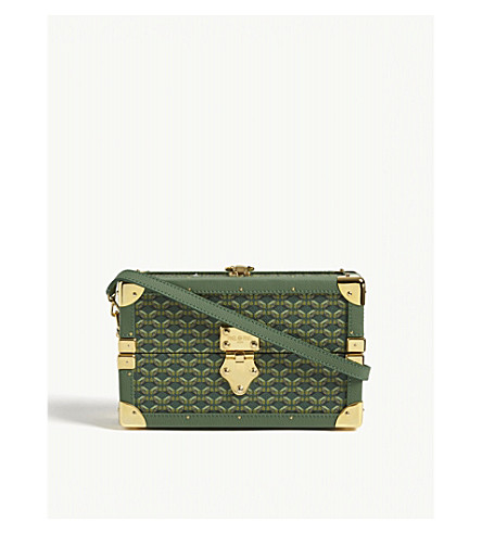 PINEL ET PINEL Mini Malle coated canvas cross-body bag (Emerald/gold