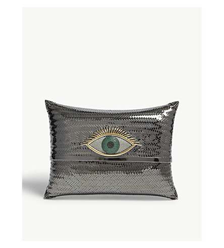 BEGUM KHAN Evil Eye cushion minaudiere clutch bag (Rhodium