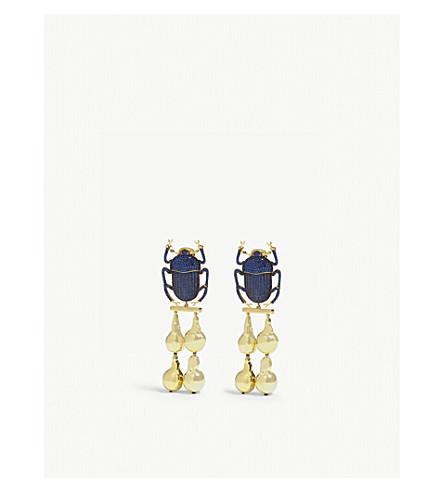 洛可可式滴耳环 (海军 + 黄金