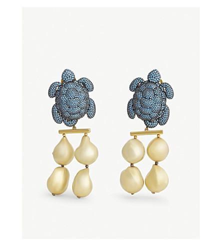 BEGUM KHAN Caretta Rococo gold-plated drop earrings (Gold+light+blue