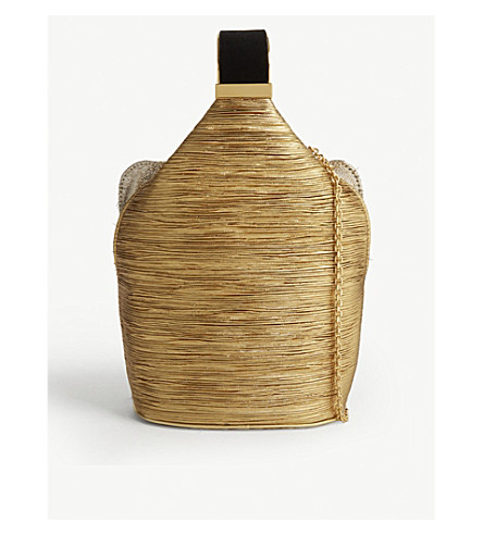 BIENEN DAVIS The Kit gold pleated lurex and brass bracelet bag (Gold