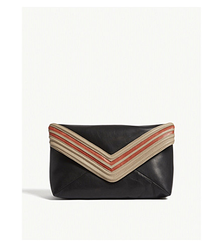 DRIES VAN NOTEN Leather envelope clutch (Black