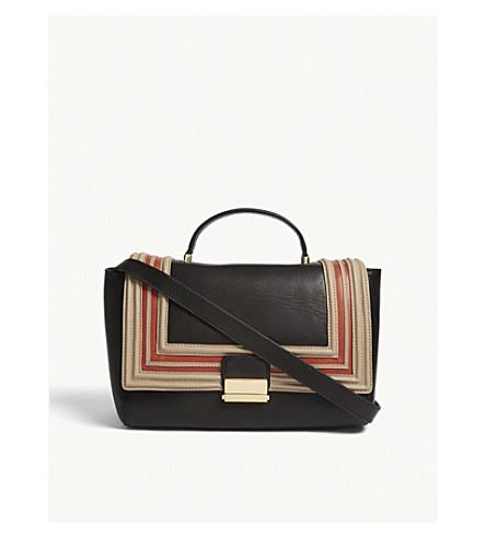 DRIES VAN NOTEN Striped trim leather shoulder bag (Black