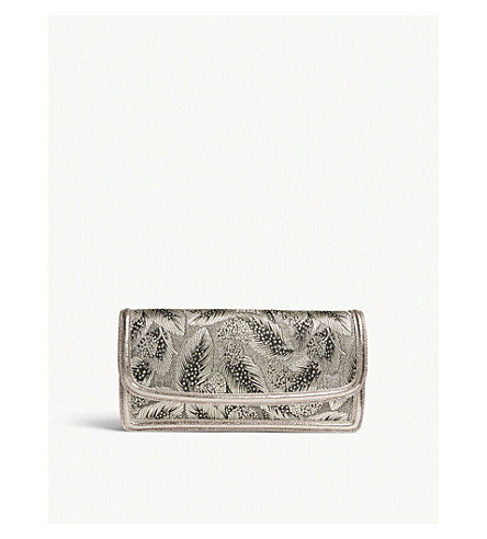 DRIES VAN NOTEN Jacquard feather faux-leather clutch (Silver