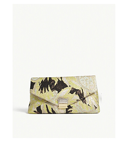 DRIES VAN NOTEN Floral brocade oversized clutch (Lime/+black/cream