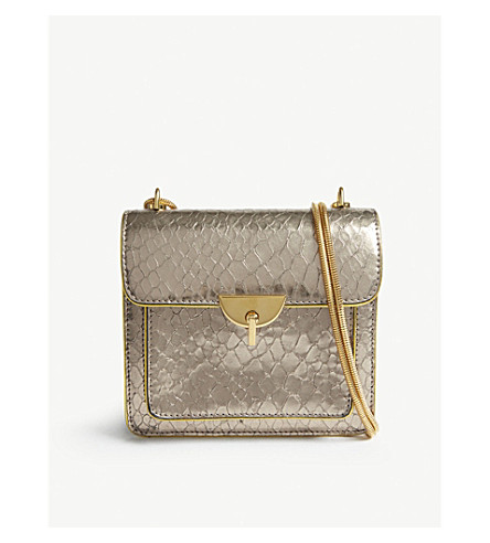 100% Guaranteed Cheap Online Good Selling For Sale DRIES VAN NOTEN Metallic python-embossed leather cross-body bag Silver Buy Cheap Visa Payment Recommend Cheap Price Latest Collections Sale Online 6MwRj8y