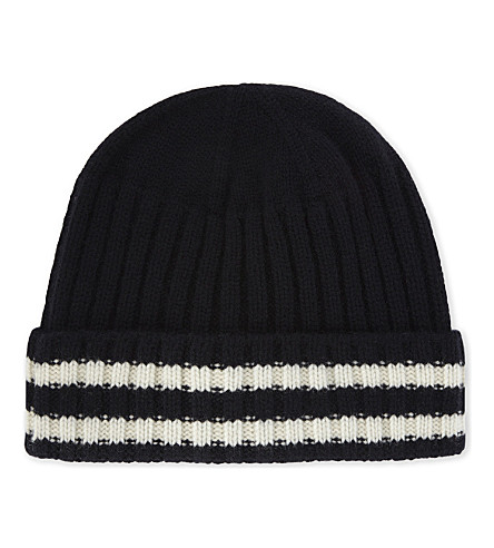JUNYA WATANABE Striped wool and cashmere-blend beanie (Navy