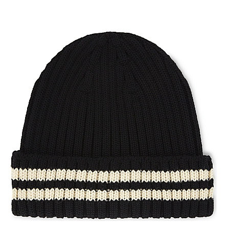 JUNYA WATANABE Stripe wool beanie (Black