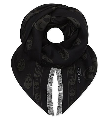 ALEXANDER MCQUEEN Classic skull silk scarf (Anthracite dk grey