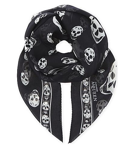 ALEXANDER MCQUEEN Skull print silk scarf (Black+ivory