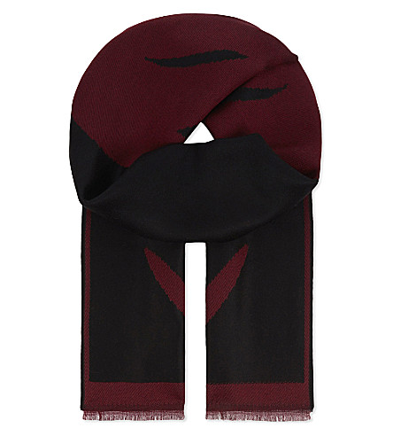 ALEXANDER MCQUEEN Skull print wool scarf (Anthracite+bordeaux