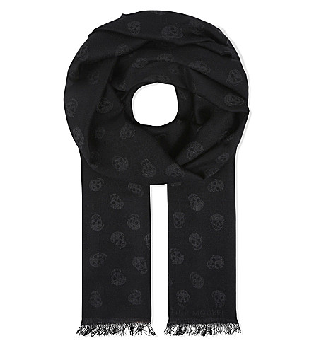 ALEXANDER MCQUEEN Skull print wool and silk-blend scarf (Black+/+dark+grey