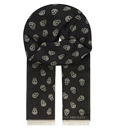 ALEXANDER MCQUEEN Skull print wool and silk-blend scarf (Black+ivory
