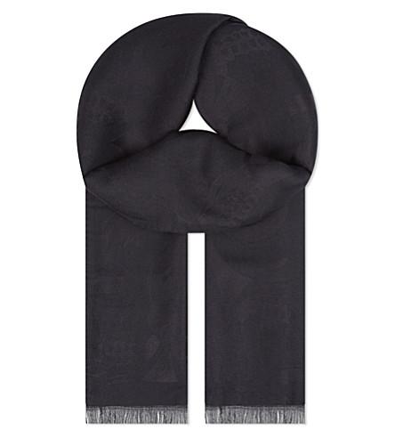 ALEXANDER MCQUEEN Skull jacquard silk scarf (Black