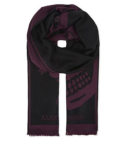 ALEXANDER MCQUEEN Wool jacquard scarf (Black+dark+purple