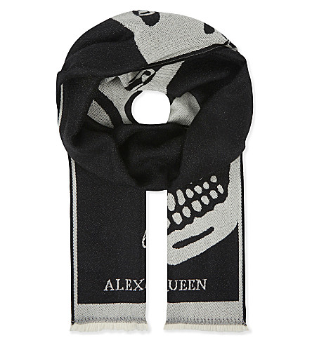 ALEXANDER MCQUEEN Wool jacquard scarf (Black/ivory