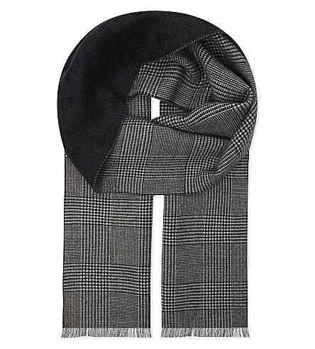 ALEXANDER MCQUEEN Prince of Wales check wool scarf (Graphite/black