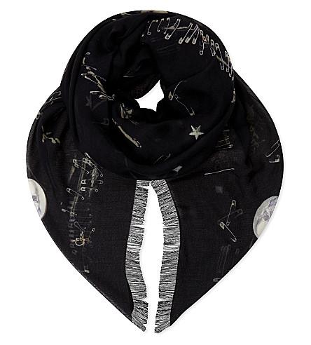 ALEXANDER MCQUEEN Punk motif print silk-blend scarf (Black/ivory
