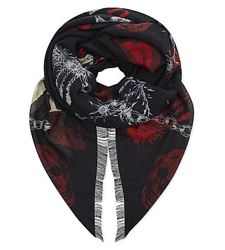 ALEXANDER MCQUEEN Ramson punk print wool & silk scarf (Midnight+blue/red