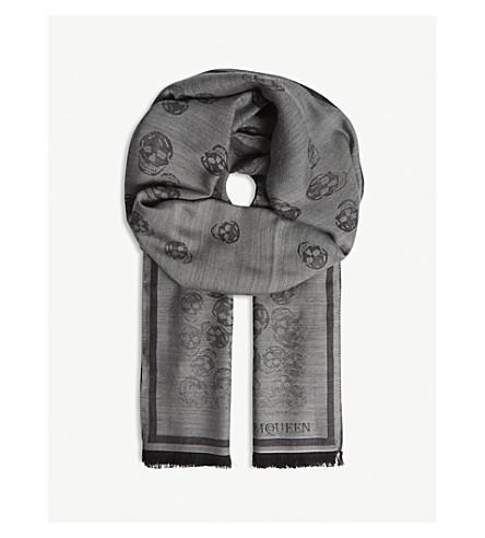ALEXANDER MCQUEEN Degenerating skull print wool-silk scarf (Anthracite+black