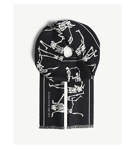 ALEXANDER MCQUEEN 舞蹈骨架印花羊毛围巾 (黑 + 象牙