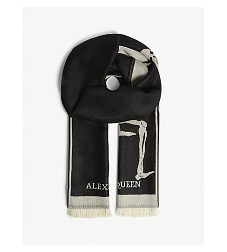ALEXANDER MCQUEEN 超大号舞骨架围巾 (黑色 + 象牙色)