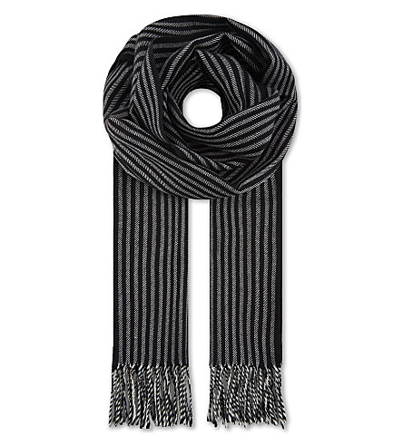 SAINT LAURENT Striped wool scarf (Blk/wht