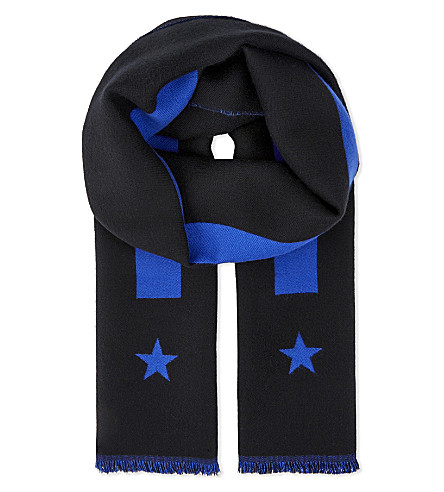 GIVENCHY Stars and stripes wool scarf (Blk+blue