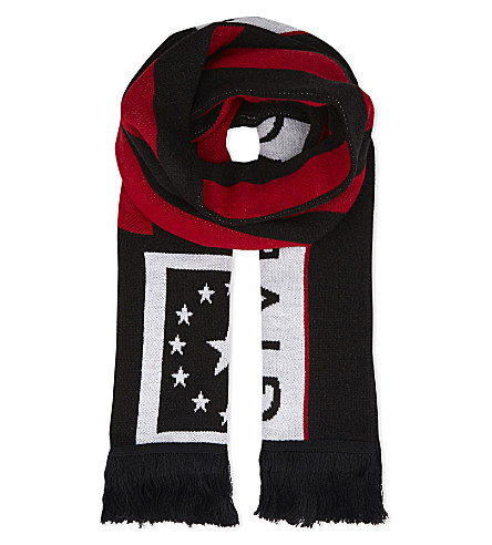 GIVENCHY Stars and stripes wool-blend scarf (Blk+red
