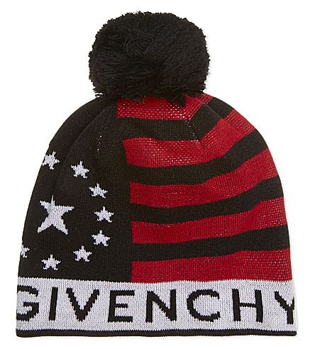 GIVENCHY Stars and stripes wool-blend beanie (Blk+red