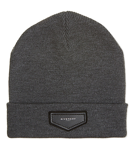 GIVENCHY Logo wool-blend beanie (Grey