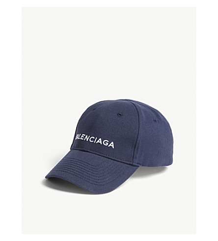 BALENCIAGA Logo cotton baseball cap (Navy+white