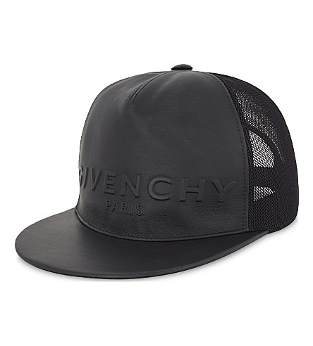 GIVENCHY Logo embossed leather snapback cap (Black