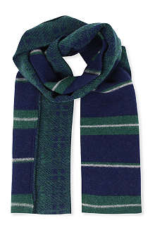DRAKES Check and stripe scarf