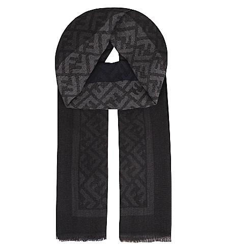 FENDI Zucca wool scarf (Black