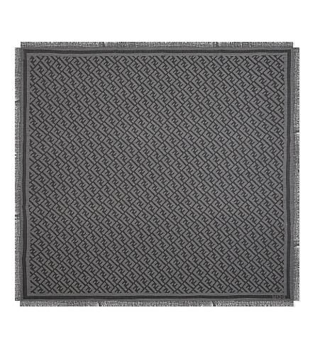 FENDI Kefiah jacquard motif scarf (Grey