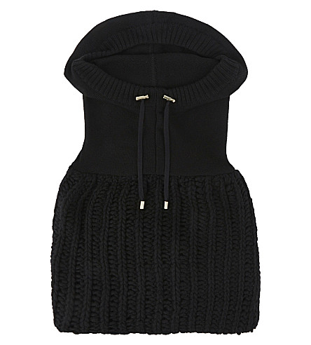 BALMAIN Wool hooded snood (Black