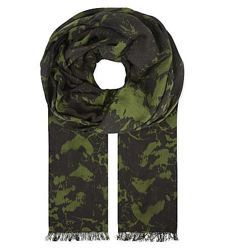 BALMAIN Printed modal scarf (Khaki