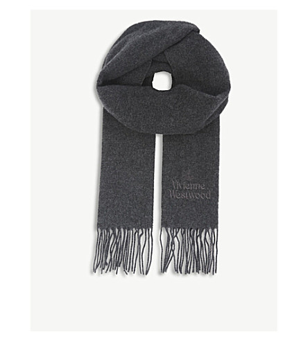 VIVIENNE WESTWOOD Embroidered wool scarf (Dark+grey