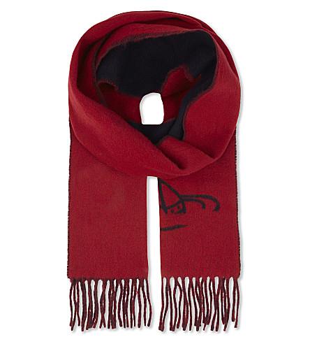 VIVIENNE WESTWOOD Orb fringed wool scarf (Blue+navy