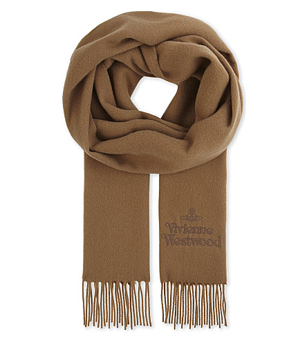 VIVIENNE WESTWOOD Embroidered wool scarf (Beige