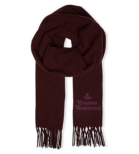 VIVIENNE WESTWOOD Logo-embroidered wool scarf (Bordeaux