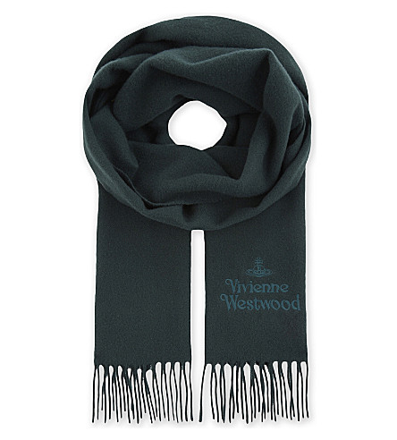 VIVIENNE WESTWOOD Logo embroidered fringed scarf (Green