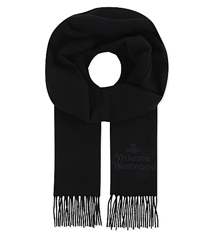 VIVIENNE WESTWOOD Embroidered wool scarf (Black