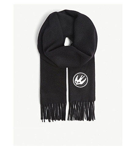 MCQ ALEXANDER MCQUEEN Skater swallow badge wool scarf (Black