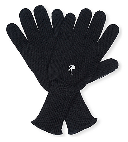 RAF SIMONS I Love You knitted wool gloves (Black+orange