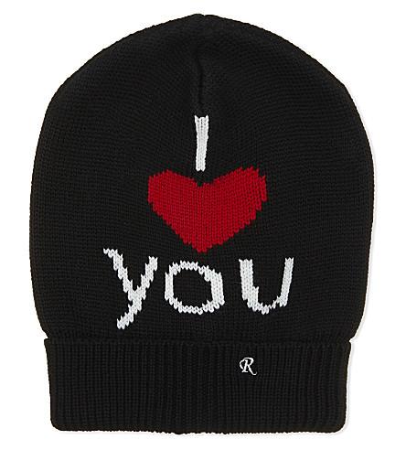 RAF SIMONS I Love You knitted wool beanie (Black