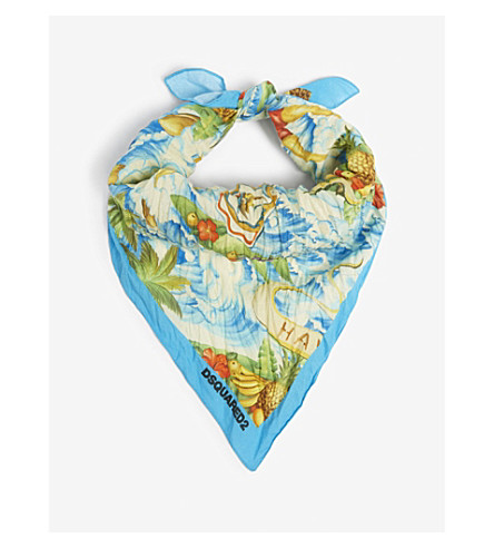 DSQUARED2 ACC Hawaiian islands cotton scarf (Blue