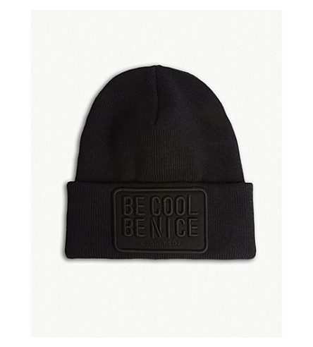 DSQUARED2 Be Cool Be Nice knitted wool beanie (Black+black