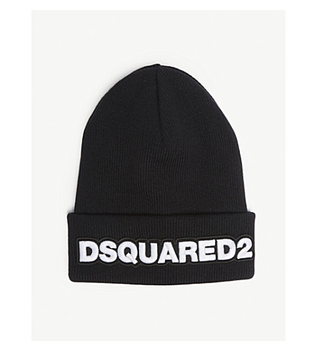 45df9e8a1eb DSQUARED2 ACC Logo wool beanie (Black+white